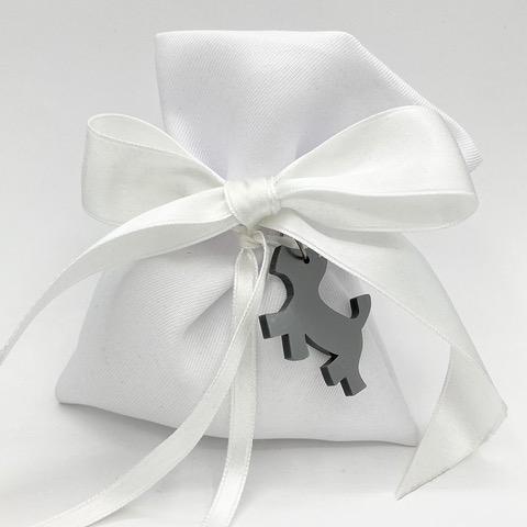 bomboniera whitedesign in termoresina grigio ciondolo cane