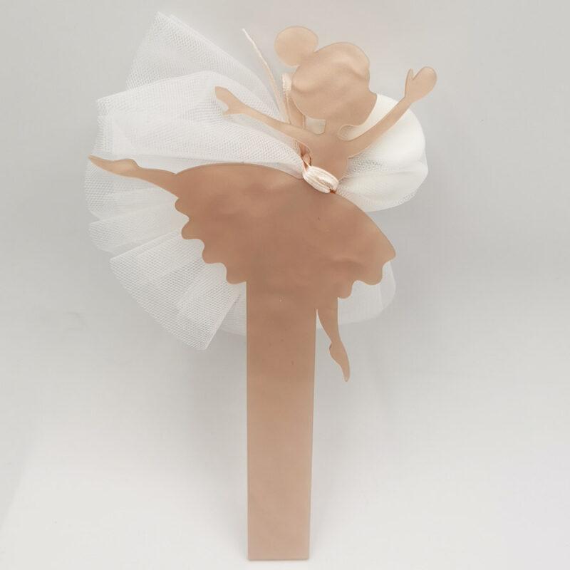 Bomboniera ballerina termoresina rosa con gonna in tulle bianco porta confetti