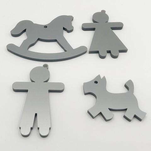whitedesign bomboniere termoresina grigio bambino bambina cane cavalluccio