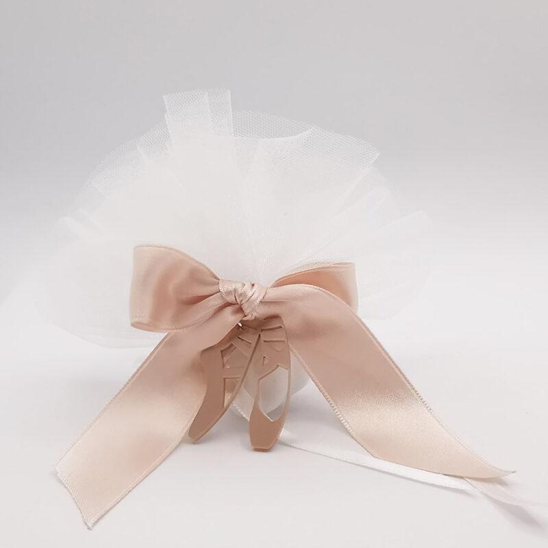 bomboniera scarpine danza in termoresina rosa e sacchetto porta confetti con tulle bianco nastro rosa